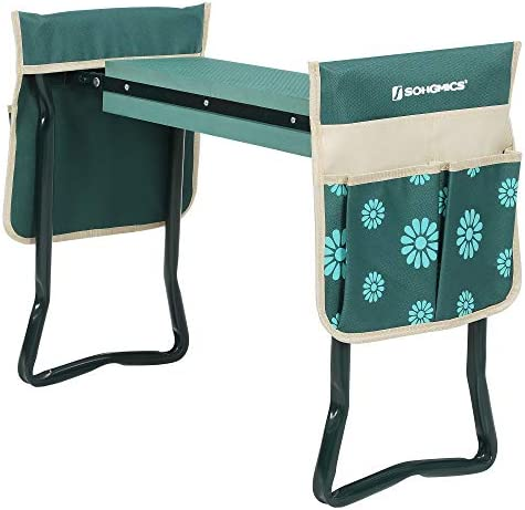 SONGMICS Garden Kneeler, Folding Garden Seat and Bench with Thickened Kneeling Pad and 2 Large Tool Bags, 330 lb Capacity, Gardening Gift, Green and Floral Pattern UGGK050L01