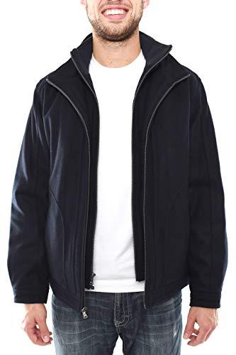 London Fog Men's Winter Coat, Martin Hipster Wool Coat with Inset BIB, Fashion Forward Coat for Men, 2 in 1 Winter Jacket