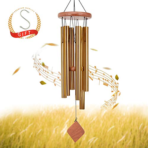 SuninYo Wind Chimes Outdoor,30'' Amazing Grace Wind Chimes with S Hook,(6 Tubes,Golden)