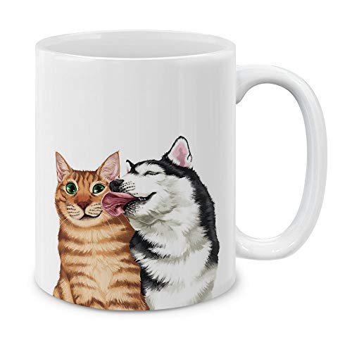 MUGBREW Cute Cat Dog Sweet Kiss Ceramic Coffee Gift Mug Tea Cup, 11 OZ