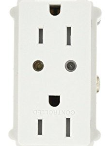 Leviton VRR15-1LZ Vizia RF + Split Duplex Tamper Resistant Scene Capable Receptacle, White/Ivory/Light Almond, Works with Amazon Alexa