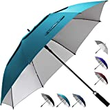 ZEKAR 54/62/68 inch Windproof Large Vented UV Protection and Classic Pongee Fabric Golf Umbrella, Double Canopy Rain and Sun Stick Umbrellas