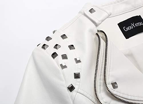 chouyatou Women's Fashion Studded Perfectly Shaping Faux Leather Biker Jacket 16 Fashion Online Shop gifts for her gifts for him womens full figure