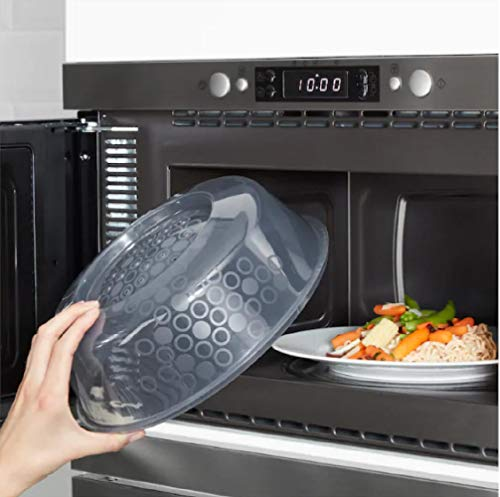 41jryhSht%2BL - Ikea Prickig Standard Transparent Microwave Lid Plate Cover with Air Vents for Perfect Reheating