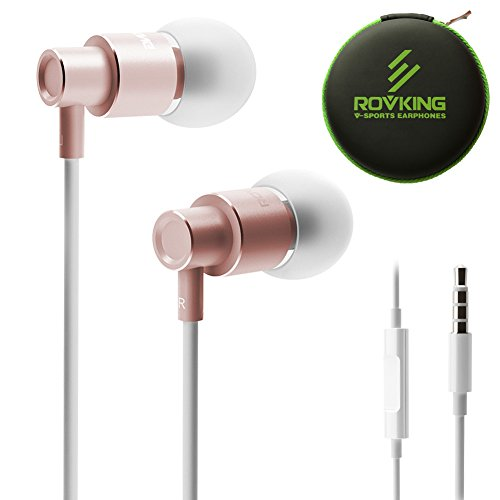 ROVKING Wired Earbuds with Microphone and Case, Noise Isolating in Ear Headphones, Metal Ear Buds Earphones for Cell Phones MP3 Computer, Lightweight, Comfort Fit, Stereo Bass, Clear Sound, Rose Gold