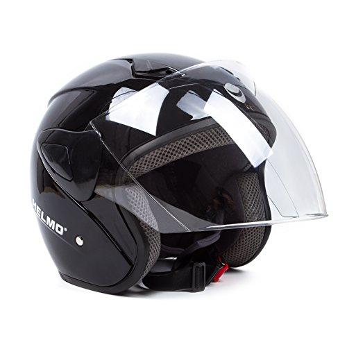 Open Face Motorcycle Helmets Scooter Helmets Flip up Helmets with Shield Gloss Black