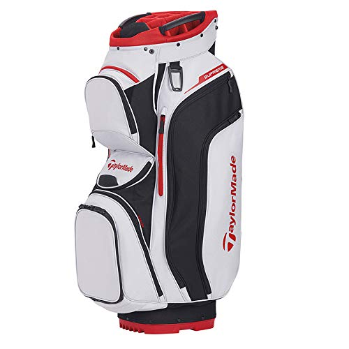 TaylorMade Supreme Cart Bag, Silver White/Black/Red