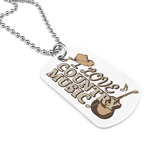I Love Country Music 2 Military Brand Necklace Dog Tag Stainless Steel Chain Pendant Keyring