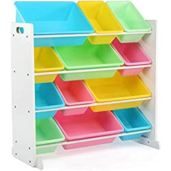 Tot Tutors Kids' Toy Storage Organizer with 12 Plastic Bins, White/Pastel