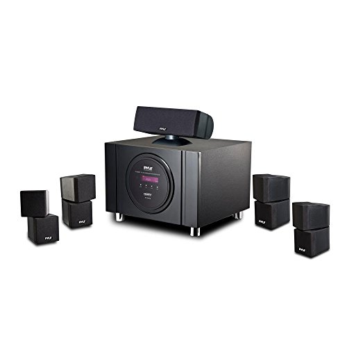 5.1 Channel Home Theater Speaker System - 300W Bluetooth Surround Sound Audio Stereo Power Receiver Box Set w/ Built-in Subwoofer, 5 Speakers, Remote, FM Radio, RCA - Pyle PT589BT