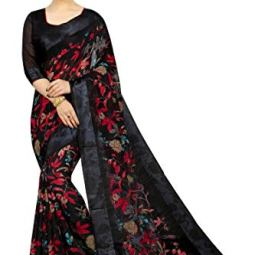 PERFECTBLUE Women's Digital Linen Saree with Unstitched Blouse Piece (DiGiDark)