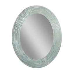 Headwest Reeded Sea Glass Oval Wall Mirror, 29 inches by 23 inches, 29″ x 23″