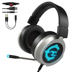CACAGOO Gaming Headset for PS4 PC XBOX ONE, 57mm Unibody Aviation Aluminum Frame Gaming Headset, Over Ear Soft Memory Earmuff, LED Light