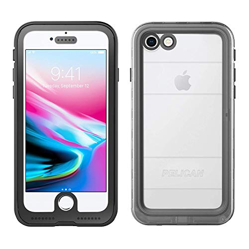 iPhone 8 Case | Pelican Marine Waterproof Case -fits iPhone 8 and iPhone 7 (Clear/Black)