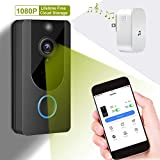 Smart Video Doorbell Wireless Doorbell Camera Lifetime Free Cloud HD 1080P WiFi Security Camera with PIR Motion Detection Night Vision Two-Way Talk and Real-time Video for iOS&Android Phone