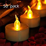 Tea Lights, LED Tea Light Candles 100 Hours Pack of 50 Realistic Flickering Bulb Battery Operated Tea Lights for Seasonal & Festival Celebration Electric Fake Candle in Warm Yellow