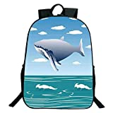 iPrint Pictures Print Design Black School Bag,backpacksWhale Decor,Ocean Sunny Landscape with Huge Jumping Whale on Air Cartoon Like Design Artwork,Blue,for Kids,Comfortable Design.15.7'x 11.8'x 5.1'