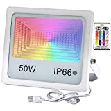 50W RGB LED Flood Lights, Outdoor Color Changing LED Security Light with Remote Control, 16 Colors & 4 Modes, IP66 Waterproof, Dimmable Wall Washer Light, Stage Lighting,1PCS