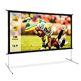 Projector Screen, TUSY 144-inch Portable Movie Screen, 16:9 4K Ultra HD 3D Projector Outdoor Movie with Stand-Folding Wall-Mounted Outdoor Screen for Home Theater Movies
