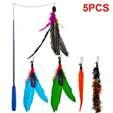 Depets Feather Teaser Cat Toy, Retractable Cat Feather Toy Wand with 5 Assorted Teaser with Bell Refills, Interactive Catcher Teaser for Kitten Or Cat Having Fun Exerciser Playing