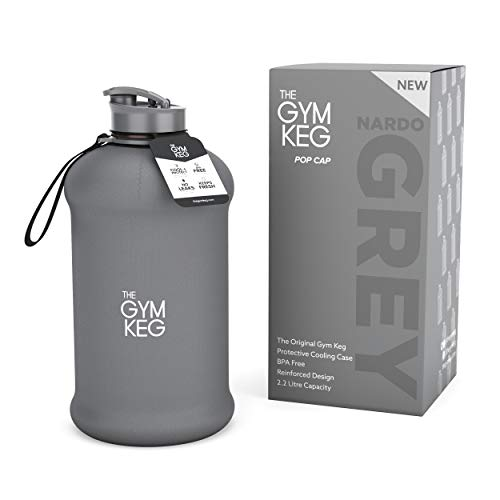 The Gym Keg - Bodybuilding Water Bottle - Premium Strong Durable 2.2 Litre Water Bottle with Handle - Eco Friendly and Best BPA Free Large Half Gallon Sports Water Bottles - Gym Bottle