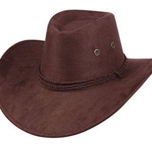 2e63f79b859a9 UwantC Mens Faux Felt Western Cowboy Hat Fedora Outdoor Wide Brim Hat with  Strap