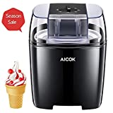 Aicok Ice Cream Maker, 1.6 Quart Automatic Frozen Yogurt and Sorbet Machine, BPA-Free with Timer Function, Easy Homemade Ice Cream with Instruction Book, Black