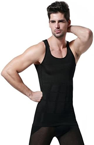 GKVK Mens Slimming Body Shaper Vest Shirt Abs Abdomen Slim 10