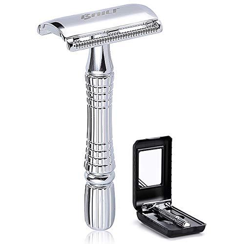 BAILI Classic Short Handle Double Edge Safety Razor Shaver Kit for Men Beard Women Hair Care +1 Swedish Blade +Mirrored Travel Case, Silver Color, BD176