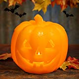Jack O' Lantern Pumpkin Candle Lamp, Battery Operated Flickering Lighting with Timer for Halloween and Home Decor (Pumpkin Orange)