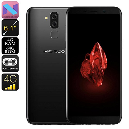 Generic Preorder Meiigoo S8 Android Phone - Octa-Core CPU, 4GB RAM, 4G, Dual-IMEI, Android 7. 1, 6. 1-Inch Full-HD, 13mp Camera (Black)