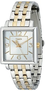 Timex Women's T2P376 Elevated Classics Square Two-Tone Stainless Steel Bracelet Watch