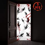 "KD KIDPAR 2Pcs 80×36"" Large Halloween Door Decorations for and Window Posters for House, Scary Zombie Bloody Handprints Cover Indoor and Outdoor"