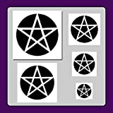 Set of 5 Pentagram/Pentacle Star Stencils in 5 Sizes! Halloween/Gothic/Wiccan/Templates