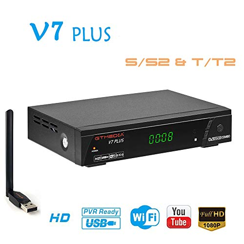 HD Satellite TV Receiver FTA DVB-S2/T2 Digital Sat Decoder with USB WiFi Antenna 1080P Full HD H.265 AVS+ Support Youtube, PVR Ready, Cccam, Newcam, Powervu, DRE & Biss key (V7 PLUS)