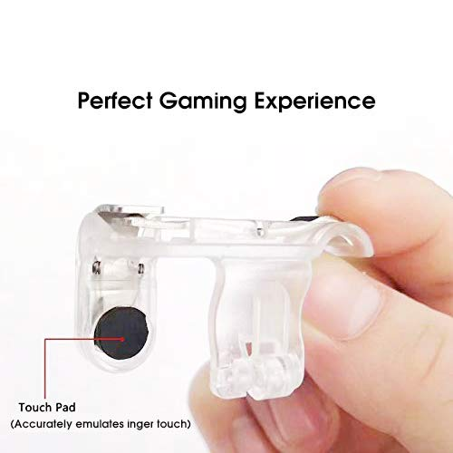 INFIBIZ Metal Triggers with Sensitive L1R1 Shoot/Aim , Compatible with PUBG/Knives Out/Rules of Survival and More, Mobile Game Controller Trigger Accessory Kit for Android, iOS (Transparent) 4