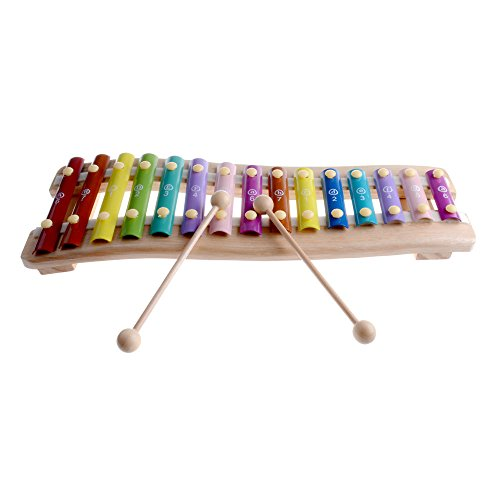 rolimate Wooden Educational Preschool Learning 15 Key Notes Chromatic Glockenspiel Xylophone Toys, Best Christmas Gift for for age 3 4 5 Years Old and Up Toddlers Kids Baby Children Boys Girls