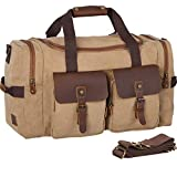 WOWBOX Duffel Bag Travel Weekender Bag Luggage Bags for Men Women Overnight Carry on Bag Gym Bag with Shoes Compartment Brown