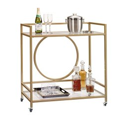 Sauder International Lux Bar Cart, L: 35.59″ x W: 15.75″ x H: 37.21″, Satin Gold