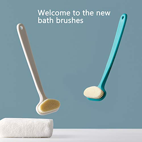 Bath Body Brush with Comfy Bristles Long Handle Gentle Exfoliation Improve Skin's Health and Beauty Bath Shower Wet or Dry Brushing Body Brush (White & Green) 9