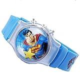 DC Comics Superman Flip Top Digital Plastic Watch w/ Floating Star and Lights