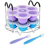 Pressure Cooker Accessories with Silicone Egg Bites Molds and Steamer Rack Trivet with Heat Resistant Handles for Instant Pot Accessories 6 Qt 8 Quart, 3 Pcs with 2 Bonus Spoons (Blue & Purple)