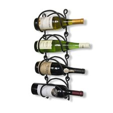 Black Iron Wall-Mounted Wine Rack Set