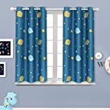 BGment Boy's Bedroom Blackout Curtains - Grommet Thermal Insulated Room Darkening Star Planet Space Printed Kids Nursery Curtain, Set of 2 Panels (38 x 54 Inch, Navy Blue)