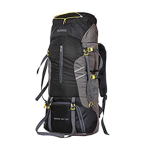 41kgWpLFqLL - TRAWOC 65 L Travel Backpack for Hiking Trekking Bag Camping Rucksack MHK001 1 Year Warranty (Black)
