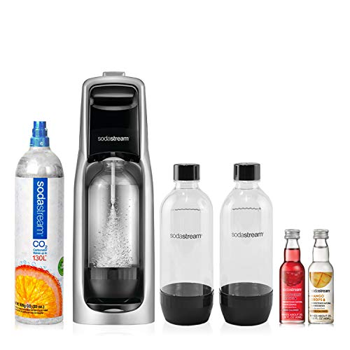SodaStream Jet Sparkling Water Maker Bundle Kit, with 130 Liter CO2 Cylinder, Carbonating Bottles, and Fruit Drops
