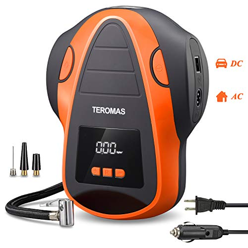 TEROMAS Tire Inflator Air Compressor, Portable DC/AC Air Pump for Car Tires 12V DC and Other Inflatables at Home 110V AC… 41krkMlyqFL