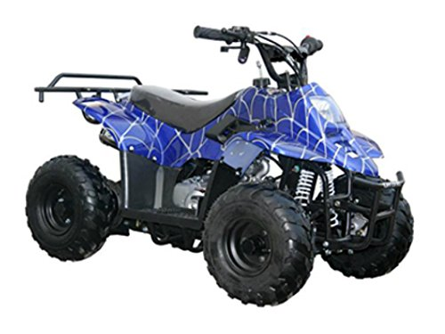 MOTOR HQ 110cc ATV Fully Automatic Four Wheelers 4 Stroke Engine 6' Tires Quads for Kids Blue Spider