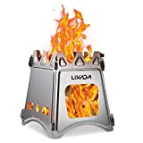 Lixada Camping Wood Stove Folding Lightweight Stainless Steel Wood Burning Backpacking Stove for Outdoor Cooking Picnic Hunting