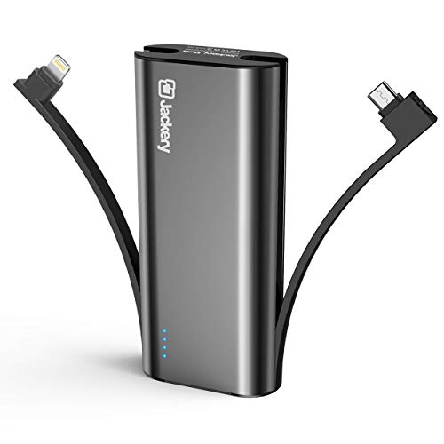 Portable Charger Jackery Bolt 6000 mAh - Power bank with built in Lightning Cable [Apple MFi certified] iPhone Battery Charger External Battery Pack, TWICE as FAST as Original iPhone Charger